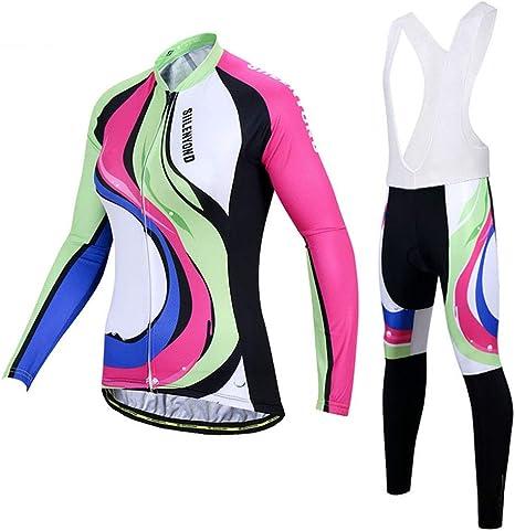 OD-B Ciclismo Bicicleta Conjunto Jersey para Mujeres, Ropa De Bicicleta De Deportes Al Aire Libre Camisas De Manga Larga Pantalones Acolchados 3D, Secado Equitación Trajes De Ropa Deportiva: Amazon.es: Deportes y aire