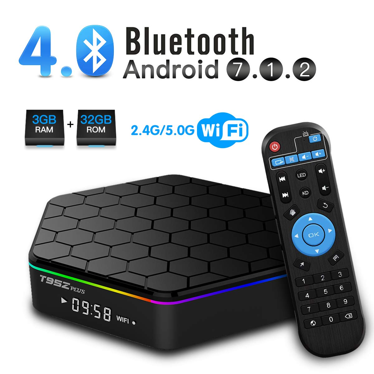 T95Z Plus Android TV Box 3GB RAM 32GB ROM, Android 7 1 TV Box Amlogic S912  Octa Core Dual 2 4/5 0 GHz WiFi Support 1000M LAN Ethernet 64Bit H 265