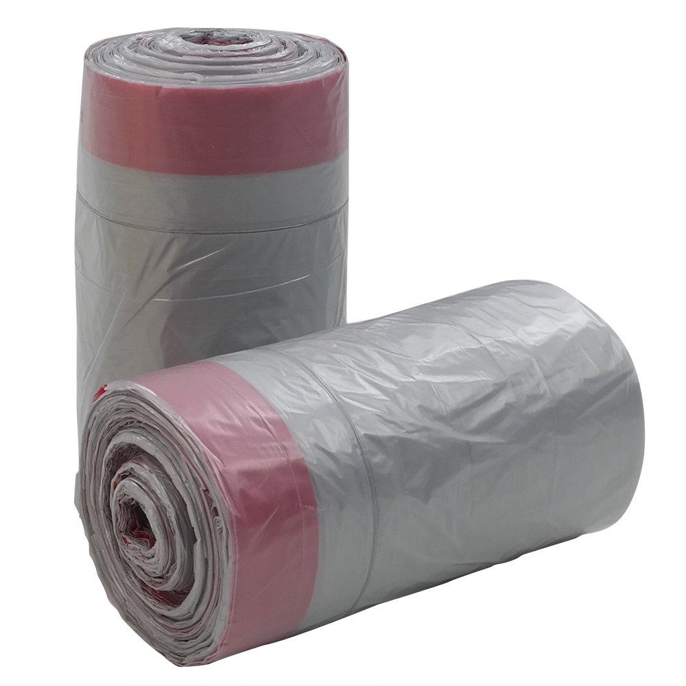 Qsbon 18 Gallon Large Kitchen Drawstring Trash Bags, 95 Counts, Grey