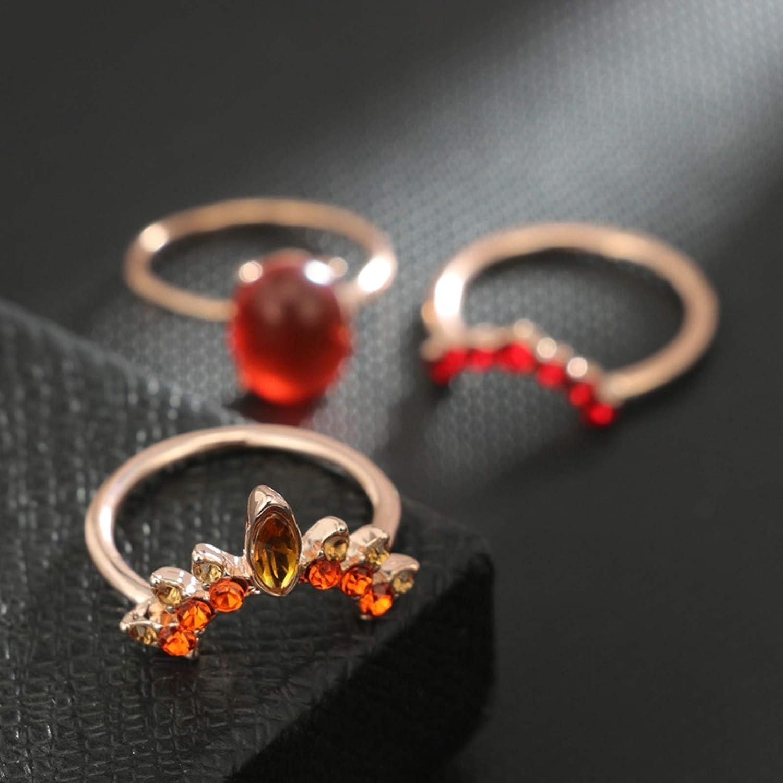 Epinki 3 Pcs Ring Sets for Women Girls Crown Ruby Orange Brown Blue Zirconia Punk Joint Finger Ring Set Vintage