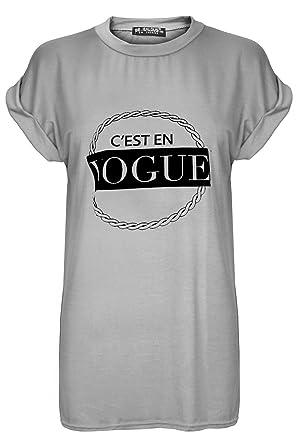 b21c4ab70e3e06 Damen cesten Vogue Print Stretch Baggy Oversize Gap Turn Up Sleeve T Shirt  Top Plus Größe