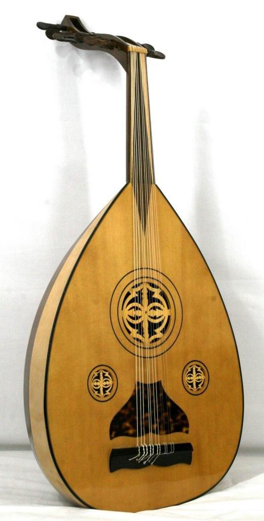 'Musikalia Laute arabischen Aoud, Boden in 15Latten aus Ahorn und Walnuss Mansonia, Rosetten aus Holz Durchbrochenes, von Geigenbauer 804