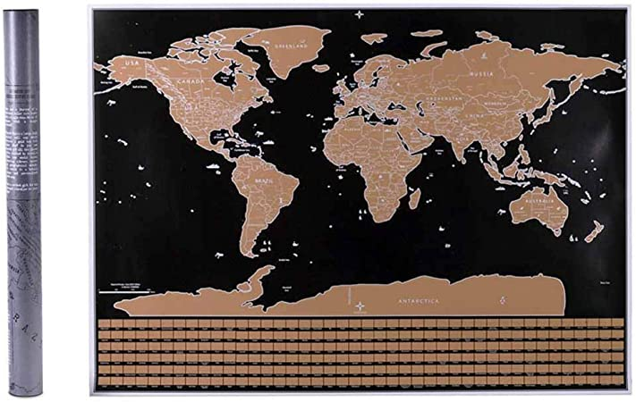 TONGXU Travel World Traqueur de voyage /à gratter Grande carte du monde /à gratter avec drapeaux du pays