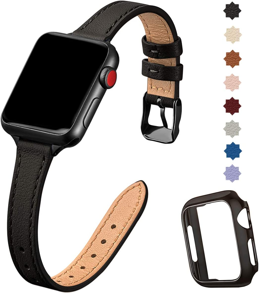 STIROLL Slim Leather Bands Compatible with Apple Watch Band 38mm 40mm 42mm 44mm, Top Grain Leather Smart Watch Thin Wristband Compatible for iWatch Series 5/4/3/2/1 (Black with Black, 38mm/40mm)