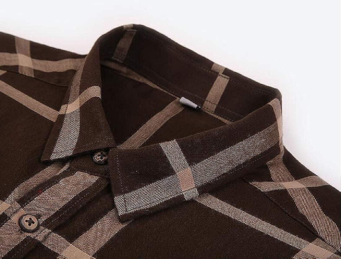 LianXiYou Mens Short Sleeves Retrol Classic Plaid Casual Flat Collar Work Shirt