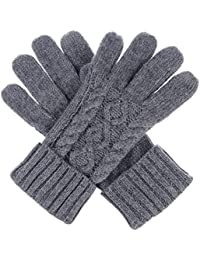 Women Winter Wool Blend Leafy Texting Knit Gloves W/ Two Fingertips Conductive Tech for All Touch-Screen Devices Smartphone & Tablet