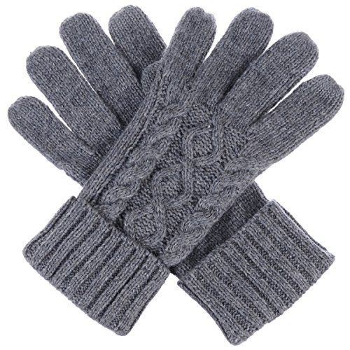 Gray Knit Glove (BYOS Women Winter Wool Blend Cable & Leafy Pattern Texting Knit Gloves w/ Two Fingertips Conductive Tech for All Touch-Screen Devices Smartphone & Tablet (Gray Cable))