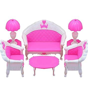 Meuble Barbie Poupée Meubles Ensemble Pour Accessoires De Barbie Meuble  Miniature 1/6 Long Sofa