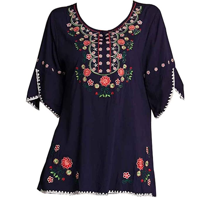 7851249e97da23 Kafeimali Women's Embroidery Mexican Bohemian Cotton Tops Shirt Tunic  Blouses (Navy Blue)