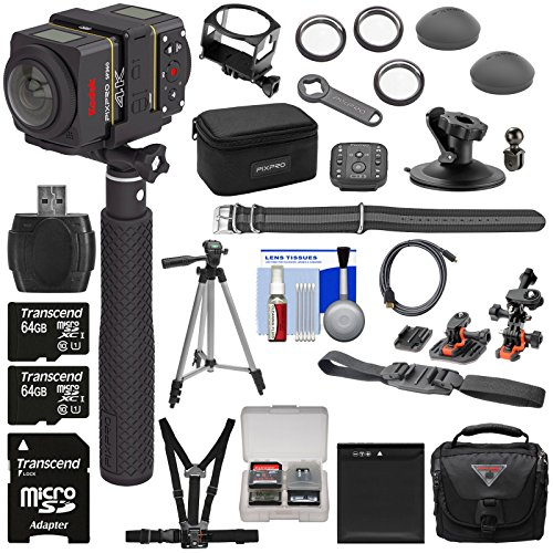 KODAK PIXPRO SP360 4K HD Wi-Fi Video Action Camera Camcorder Dual Pro Pack & Remote + Helmet, Chest & Action Mounts + 2X 64GB Card + Battery + Case + Tripod Kit