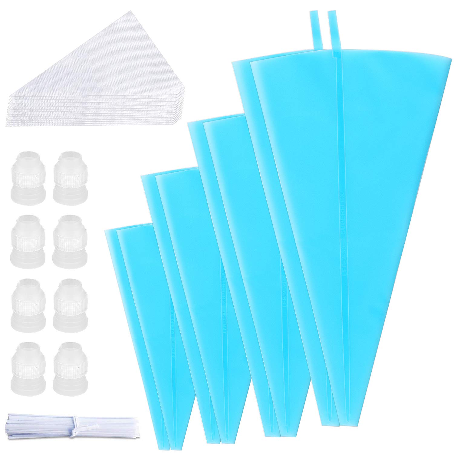 PEMOTech Pastry Bags, [Set of 66] 4 Sizes(12''/ 14''/ 16''/ 18'')- 8 Pack Reusable Piping Bags FDA Approved, with 30 Piping Bags Ties 20 Disposable Pastry Bags and 8 Couplers by PEMOTech (Image #1)