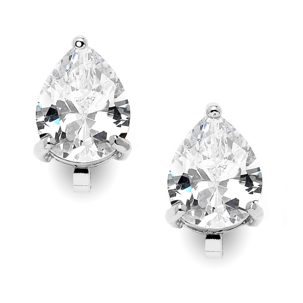 Mariell 2 Carat Clip-On Earrings with Pear-Shaped Cubic Zirconia Stud Solitaires - Silver Platinum Plated