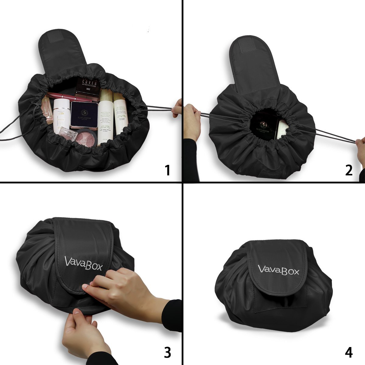 Lazy Drawstring Make up Bag Portable Large Travel Cosmetic Bag Pouch Travel Makeup Pouch Storage Organiser For Women Girl (Black)