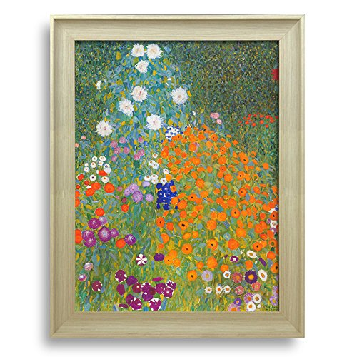 Framed Art Bauerngarten by Guatav Klimt Famous Painting Wall Decor Natural Wood Finish Frame