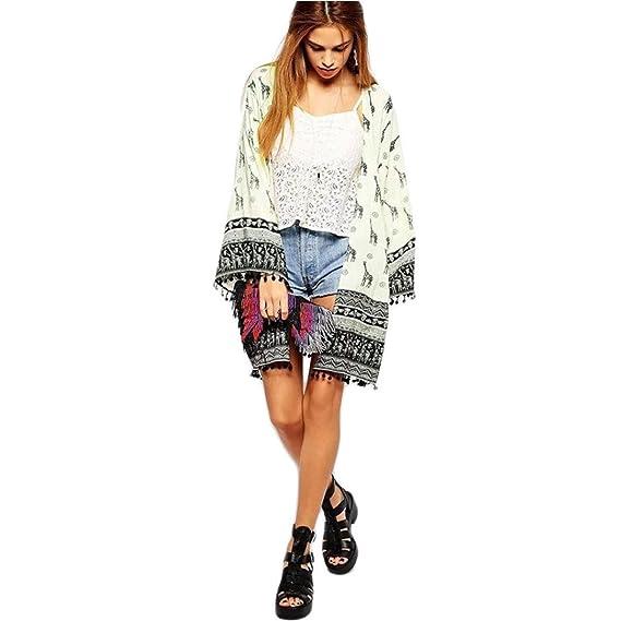 DEELIN PatróN De Jirafa De Las Mujeres Imprimir Kimono Rebeca Camisa Camisa Retro Playa Cubierta (