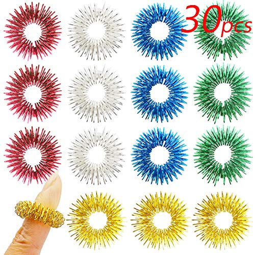 (Spiky Sensory Rings, Finger Massager Roller, Silent Fidget Toy for ADHD, Autism, Stress Relief, 30 Pieces by FRIMOONY)