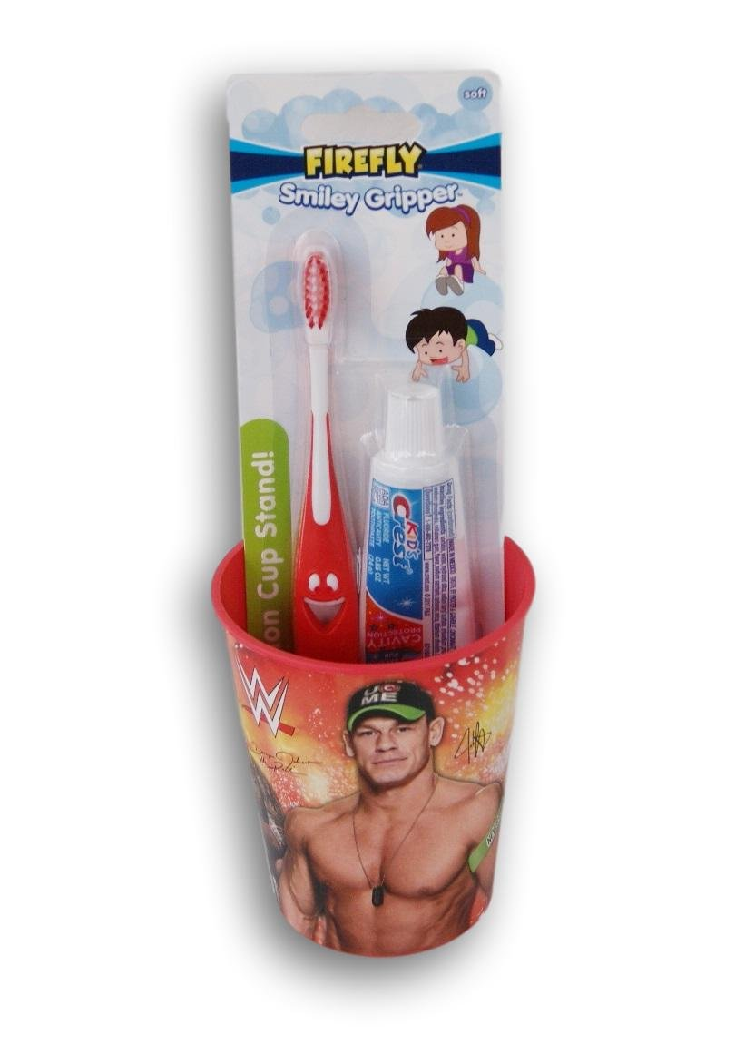 WWE John Cena the Rock Tooth Brushing Kit Toothbrush Toothpaste and Rinsing Cup