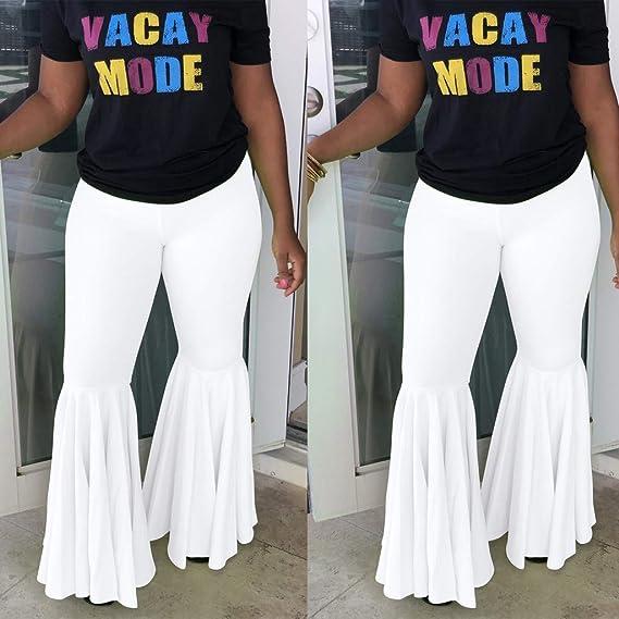 Pantalones de mujer con parte inferior de campana, cintura alta ...
