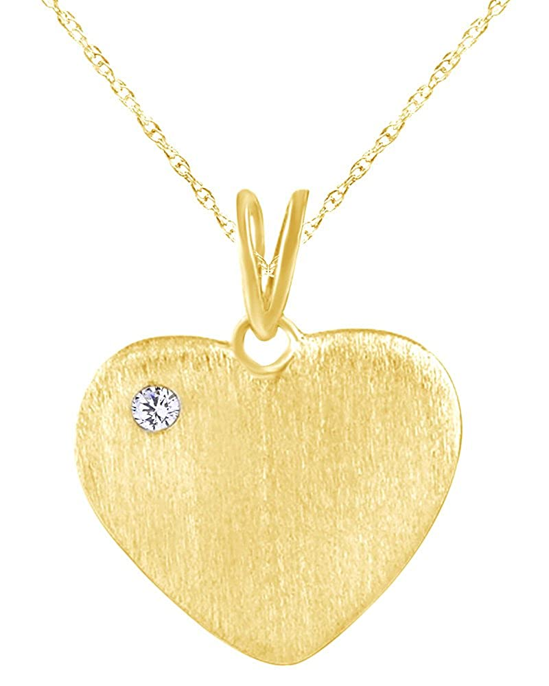 Wishrocks 14K Gold Over Sterling Silver Round White CZ Heart Pendant Necklace