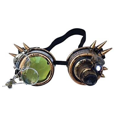 Steampunk Antique Copper Cyber Goggles Estilo vintage Steampunk gafas soldadura gafas Punk divertidos ZARLLE: Amazon.es: Ropa y accesorios