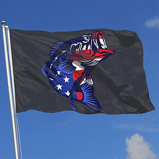 Ytgq4pt Bass Fishing Usa Flag Super Polyester Flag 3x5 Foot Banner With Grommets