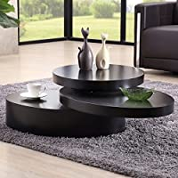 SUNCOO Rotating Coffee Table Living Room Furniture (Round, Black)