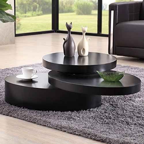 SUNCOO Rotating Coffee Table with 3 Layers Save Place Furnit