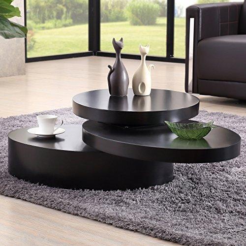 Uenjoy Rotating Coffee Table Living Room Furniture (Round, Black) Black Round Coffee Table