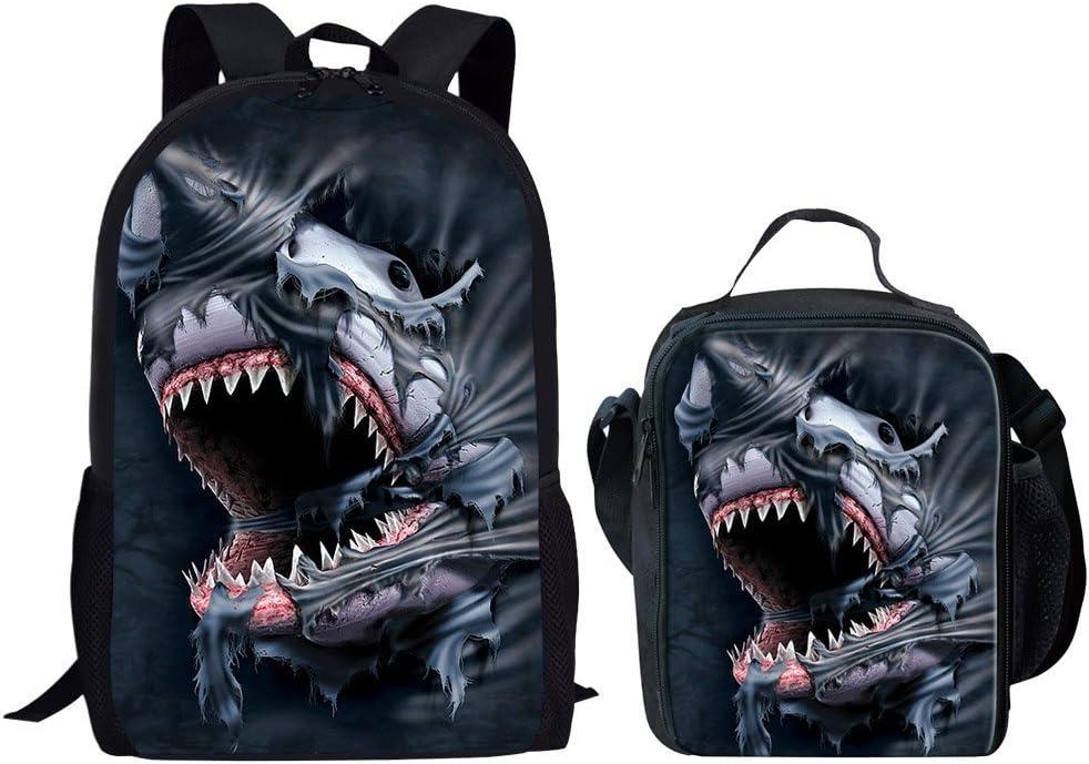 HUGS IDEA Shark Backpack Set Children School Bag Cool Shoulder Bookbag and Lunch Bag 2 Sets