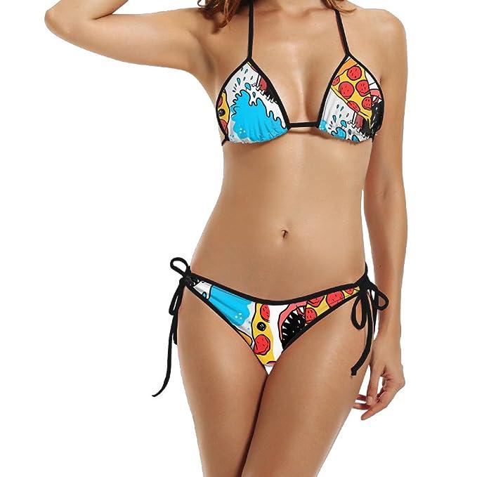 66eeb77a61254 Shark Eat Pizza Sea Women Summer Sexy Bikini Set Swimwear Two Piece