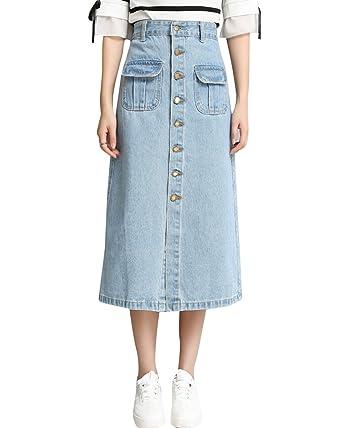 291e436a5f ZhuiKun Womens High Waisted Single-Breasted Denim Skirt Long Jean Skirt  Light Blue XL