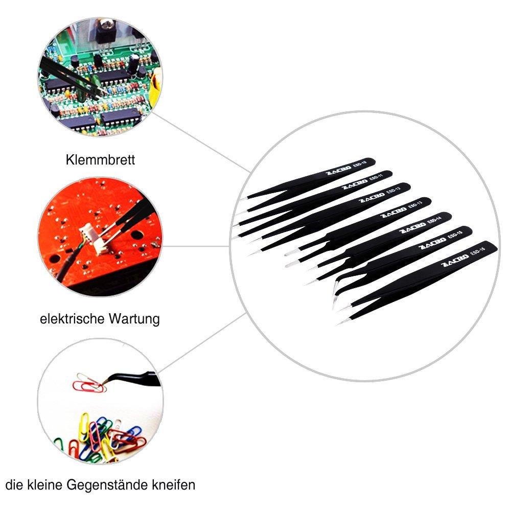 riparazioni elettroniche laboratorio e lavori di precisione per riparazione antistatica per computer Zacro ESD 7 pinzette di precisione antistatiche in acciaio inossidabile gioielli