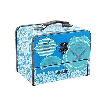 "Caja Costura Decorativa con Set de Costura""Azul Floral"". Costureros. Cajas Multiusos"