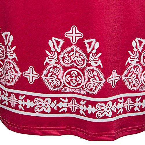Honghu Verano Slim Fit Mangas 3/4 V-Culleo Vestido para mujer Rojo