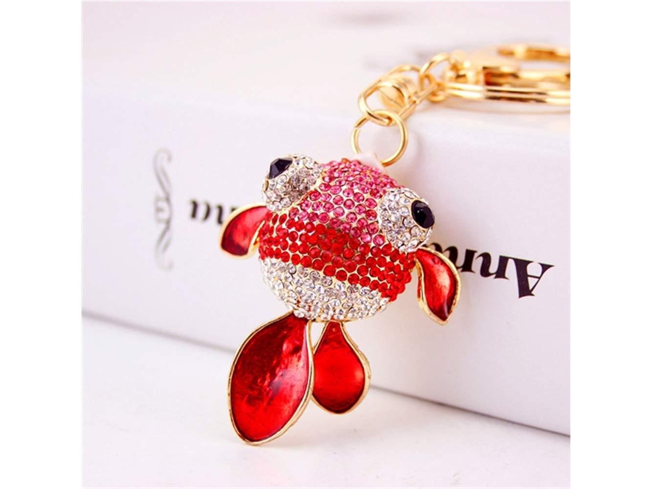 Car Keychain, Cute Diamond Goldfish Keychain Animal Key Trinket Car Bag Key Holder Decorations(Red) for Gift