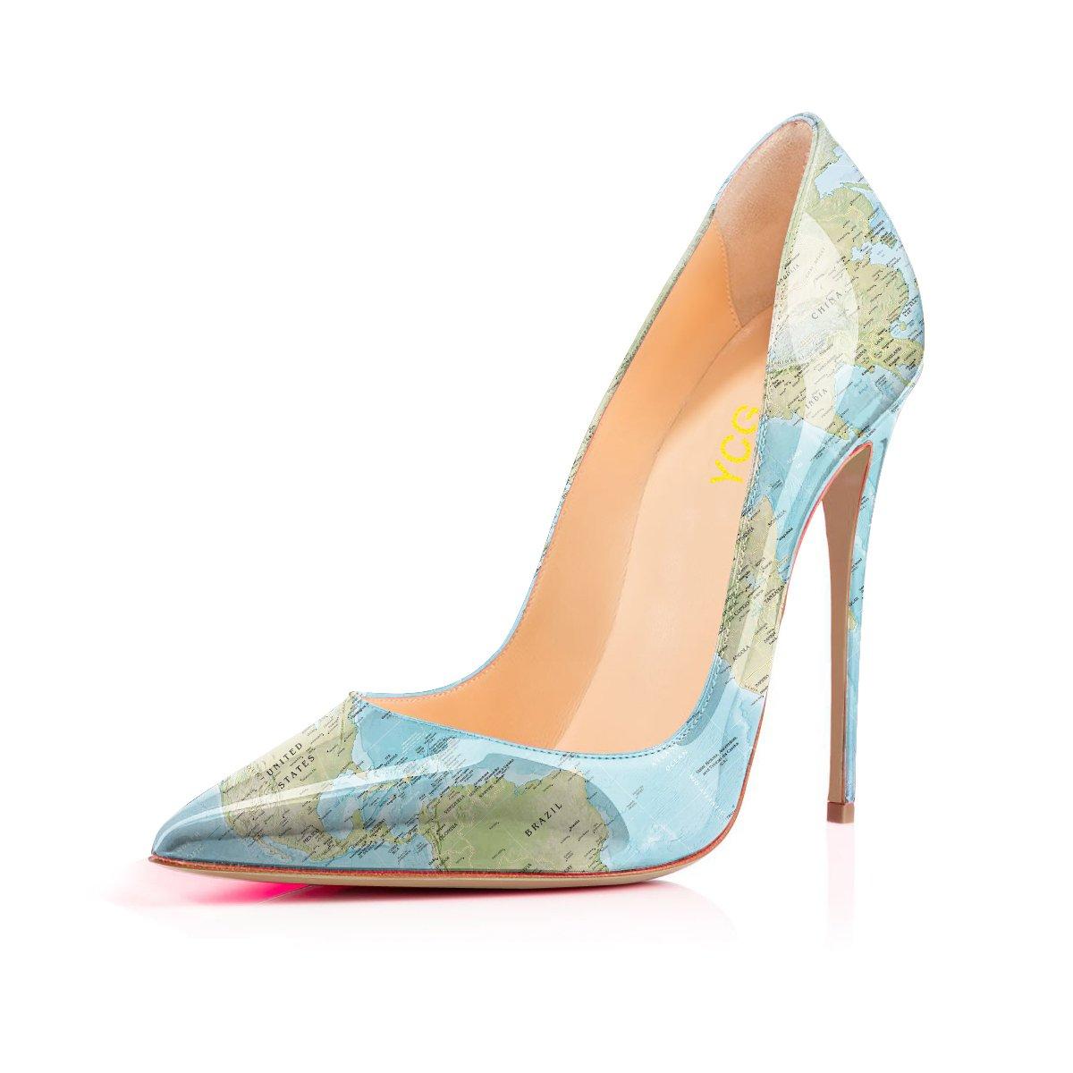 YCG Women's High Heels Pumps Red Blood Printing Slip on Shoes B07DJ9WRJY US5=footlength 22.3cm|Blue World Map 2