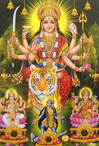 Goddess Durga and other Hindu Goddesses /Hindu God Poster (Unframed : 10