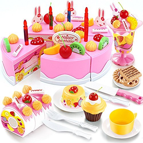 Birthday Cake Play Food Set, Aijiaye 75Pcs Plastic Kitchen Cutting Toy Pretend Play Food Assortment Toy Set Birthday Cake for Kids (Toy Birthday Cake Set)