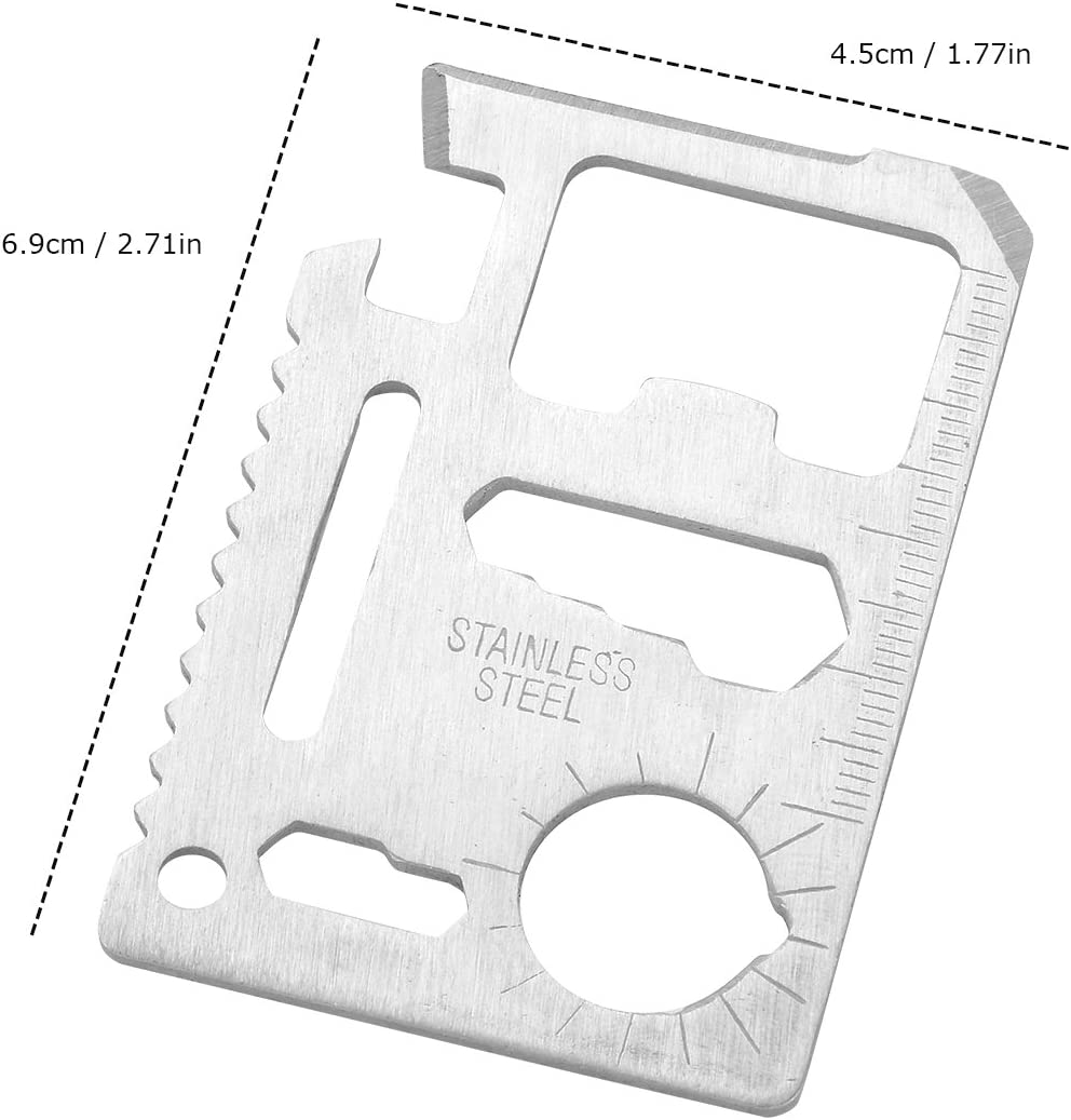 2-Pack Survival Pocket Tool Stainless Steel 11 in 1 Beer Opener steel//Inch Scale//Double Row Sawtooth Survival Card Tool Gift for Men