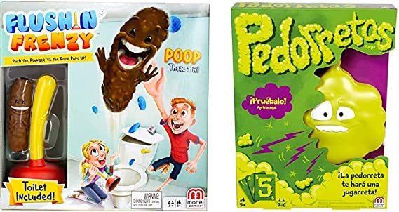 Mattel Games - Baño Boom, ¡Atrapa la Caca!, Juego de Mesa Infantil (FWW30) + Games - Pedorretas, Juegos de Mesa para Niños (Mattel DRY35): Amazon.es: Juguetes y juegos