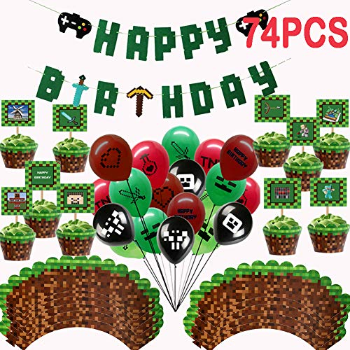Game Party Supplies Pixel Gaming Birthday Party Favors, 25 Pack Latex Gamer Balloons, 24 Pack Gaming Cake Topper and Cake Wrappers, 1 Pack Banner]()