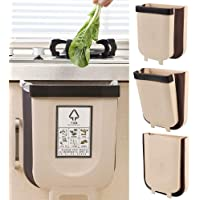Hanging Trash Can, Silicone Folding Waste Bins Kitchen Foldable Trash Can Collapsible Small Garbage Can Compact Portable Waste Bin for Home Kitchen Room Cabinet Door Drawer Car 9L