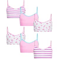 GIRLS TRAINING BRA TOP SPAGHETTI STRAPS NO PADS COTTON SPANDEX 6 TO 10 YRS 6 PCS