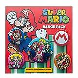 Super Mario Badge Pack - Princess Peach, Luigi, 1 X 38mm & 4 X 25mm Badges (6 x 4 inches)
