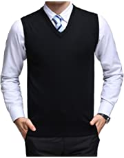 Homovater Classic Mens Casual V-Neck Sleeveless Jumper Vest Cardigans Knitwear Knitted Waistcoat Sweater Tank Tops Slim Fit Solid Lightweight