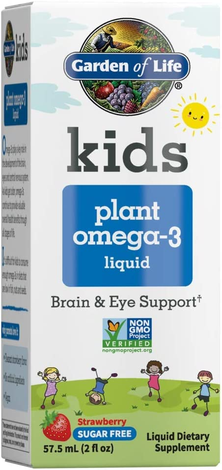 Garden of Life Kids Plant Omega-3 Liquid, Strawberry - Vegan Brain & Eye Support for Kids, Plant-Based Children's Omega 3 Ala, Dha & Epa Supplement for Children, Sugar Free & Non-GMO - 2 Fl Oz Liquid
