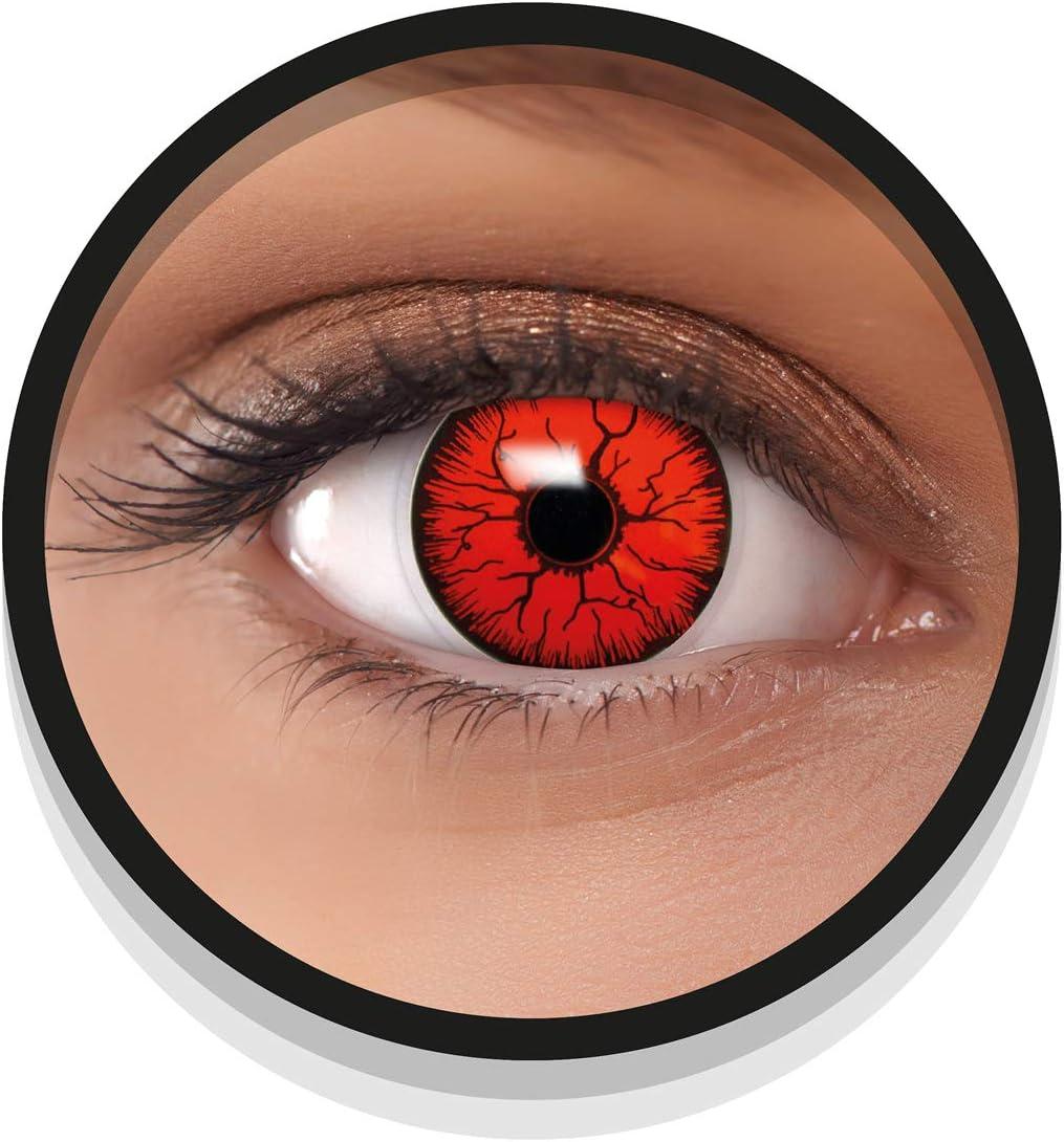 FXEYEZ Lentes de contacto de Halloween de color, lentilla de motivo rojo, 1 par, un solo uso sin receta, disfrazarse como un DEVIL