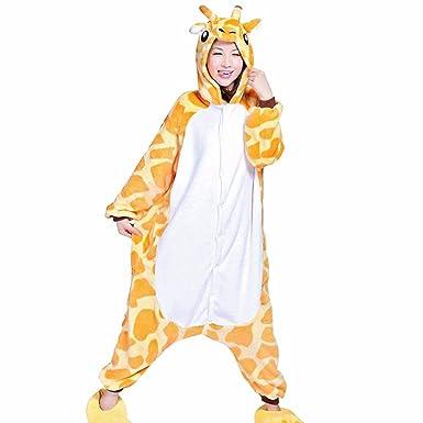 7d21a4c53c Giraffe Cartoon Winter Cosplay Pajamas Flannel Conjoined Hips Zipper  Nightdress