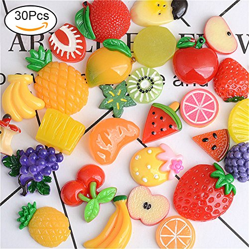 - HOERIE 30pcs Slime Charms, Mixed Fruits Resin Charms for DIY Crafts Making