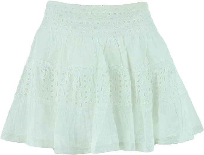 Gabrielle Parker - Mini Falda Gitana, Color Blanco Blanco * M/L ...